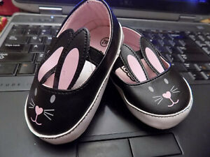 Teeny Toes Black Pink  Sz 2 Wide cut out Bunny Ears Mary Janes crib shoes NWT