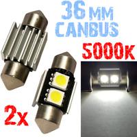 2 LAMPADINE SILURO 36mm 5000k LED SMD 2x 5050 BIANCO luce Interno Auto Targa 2B8