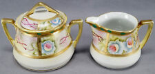 Nippon Hand Painted Blue Rose Pink Thorns & Moriage Creamer & Sugar 1891 - 1921