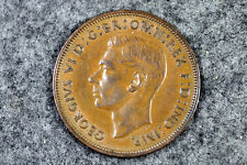 1938 Uk Great Britain British One 1 Penny King George Vi Coin #L00939