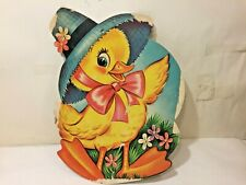 """Vtg 40-50`s Beistle? Easter Duck Chick w Daisies Bow & Hat Diecut Decoration 17"""""""