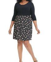 Gilli Twofer Black Floral Jersey Fit And Flare Dress Size 2X