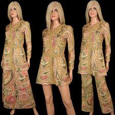Vtg 60s NELLY de GRAB PSYCHEDELIC Metallic Hippy Maxi Skirt Pants Mini Dress Set