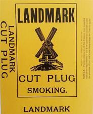 Landmark Cut Plug Smoking Tobacco Original Vintage Package Label Detroit, Mi.
