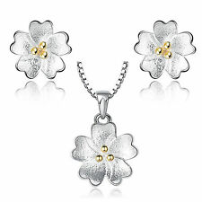 Fashion Jewellery 925 Sterling Silver Cherry Blossoms Necklace Pendant Earrings