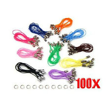 100 Assorted Coloured Mobile Phone Strap String with 7mm Jump Rings --- Bla W6X1