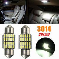 2x 30MM 3014 SMD 20 LED Festoon Dome Car Interior Light Bulbs White 6000K DC12V