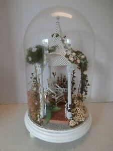 Vtg Dollhouse 1:12 Miniature Artist Made Reuge Music Box/Room Box Garden Scene