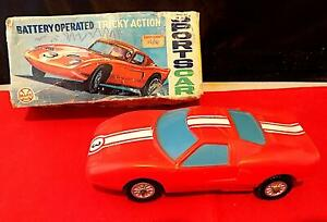 Vintage Plastic Battery-Operated Tricky Action Sports Car, Marx Toys H Kong VGiB
