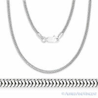 925 Sterling Silver Rhodium Plated 1.9mm Snake Link Chain Italian Italy Necklace