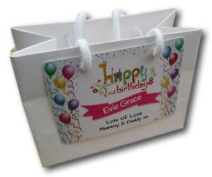 1 PERSONALISED BIRTHDAY WHITE LUXURY GIFT BAG /  ANY OCCASION KEEPSAKE