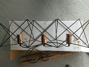 Dar Lighting Midi Ceiling 3 Light Bar Pendant Metal, Black Copper Cage