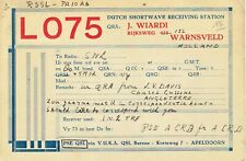 Old QSL from J. Wiardi, Rijksweg, Warnsveld L O75, 18/8/1939