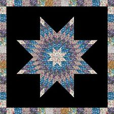 WILDFLOWERS ON BLACK Star Only - Not Quilted, Made in the USA