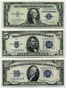 (4)  LOT de 3 Billets de 1 - 5 et 10 Dollars  ÉTATS-UNIS D'AMÉRIQUE  ( SPL )