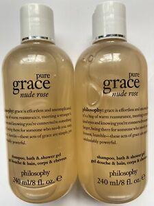 Philosophy 2 X Nude Rose Pure Grace  Shampoo, Bath & Shower Gel 240ml New