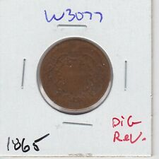 Kappyspenny W3077 1865 Two Cent Piece Civil War Used Full Date Circulated Dig