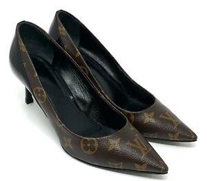 LOUIS VUITTON Monogram Heels Pumps #36.5 US 6.5 Brown Black Pointed Toe RankAB