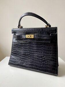 Vintage Black Leather Moc Croc Bag Kelly Handbag Gold Tone Hardware