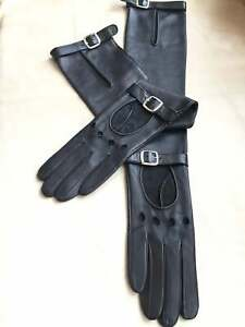Handmade Women's Italian Napa Leather Lambskin Black Evening Unlined Gloves