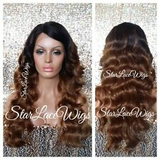 100% Human Hair Blend Body Wave Ombre Lace Front Wig Wavy Heat Safe Ok #4 #27