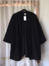 NWT H&M Black Textured Fuzzy Cardigan Jacket Size Medium M