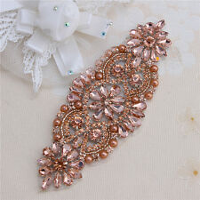 Rose Gold Rhinestone Applique for Wedding Belts Dress Shoes Headband Decoration