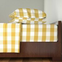 Yellow Gingham Mustard Gingham Check 100% Cotton Sateen Sheet Set by Roostery