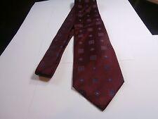 Nordstrom XMI Italian silk tie Necktie made in USA maroon with blue embroider