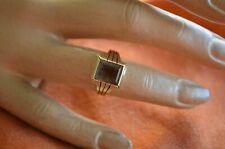Vintage Ring 585 Gold mit Rauchquarz Herrenring für den kleinen Finger