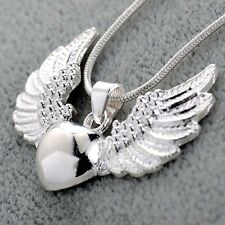 Women Vintage 925 Silver Heart Angel Wing Charm Pendant Necklace Jewelry