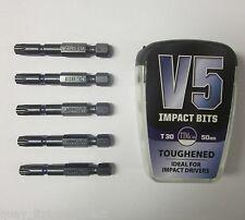 V5 impact bits T30 50mm (5 pk) spax béton vis direct fixations makita dewalt