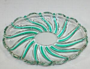 "Mikasa Glass Candy Dish Bowl Christmas Candy Green Swirl 9 1/4"" x 6 3/4"""
