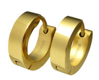 Kikuchi Ohrringe Titan- Edelstahl klapp- Creolen Gold Glänzend 4mm Herren Damen