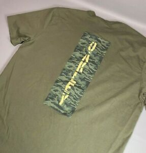 Oakley Army Green / Camo Spellout Double Sided T Shirt   CLEAN   Men's Size L/XL