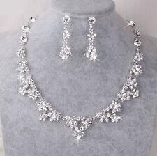 Silver Wedding Bridal Jewellery Crystal Rhinestone Diamante Necklace Earring Set