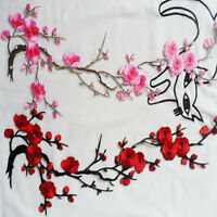 DIY Embroidered Plum Chinese Blossom Flower Patch Iron/Sew on Applique Cr Pro