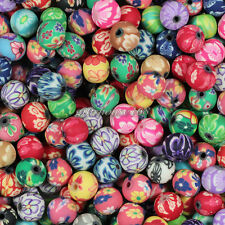 100pcs 8mm Mixed Polymer Fimo Clay Round Ball Loose Spacer Beads
