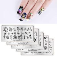 5Pcs NICOLE DIARY Nail Stamping Plates Tattoo Skulls Series Nail Art Image Plate