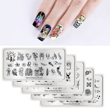 5pcs Geometric Skulls Nail Stamping Plates Manicure Set Rectangle NICOLE DIARY