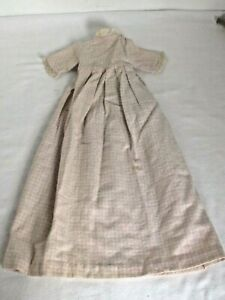 Antique Flannel Doll Long Night Gown Pink Plaid on White