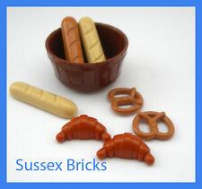 Lego Food 3x Baguette 2x Croissant Bread 2x Pretzel - City Castle Bakery Hobbit