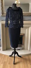 veni infantino Sz 10 Navy Lace Cowel Neck Dress Mother Of The Bride Rrp £599