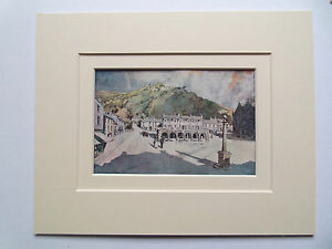 SETTLE YORKSHIRE OLD PRINT  DATE 1908 -10x8 DOUBLE MOUNT READY TO FRAME