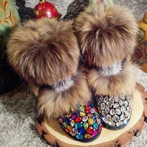 Womens Real Fur Rainbow Rhinestone Mid Calf Sequin Snow Boots Warm Leather MOON
