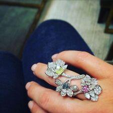 Three Flowers Pink Mystic Citrine Blue Sapphire Center Stones Cz 40mm Long Ring