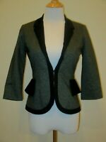 Anthropologie Cartonnier Blazer/Jacket Black Dark Gray Ruffle Peplum- Size 0P