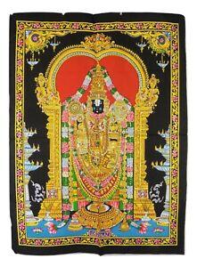 Indian Hindu God Lord Balaji Sequined Wall Hanging * Fair Trade * 80 x 110 cm