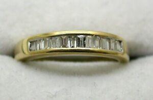 Lovely 18 carat Gold 12 Stone Baguette Cut Diamond Half Eternity Ring Size G.1/2