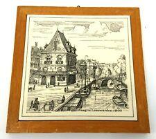Vintage Dutch Wall Tile Waag Leeuwarden 1800 Schoonhoven Framed J162